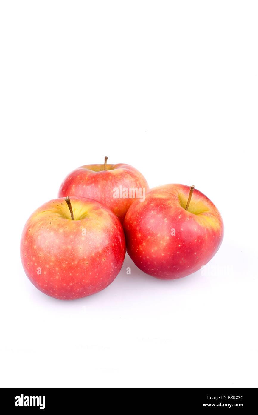 Three Ingrid Marie apples - Stock Image