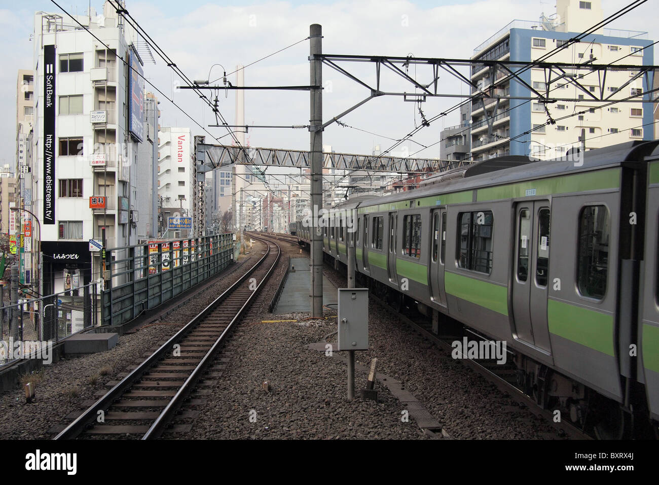 Overground train in Tokyo Japan - Stock Image