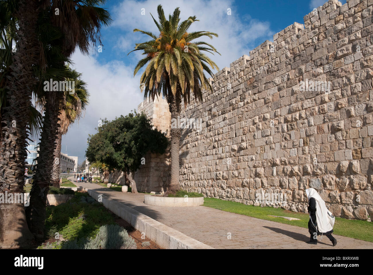 Orthodox jew walking along the City walls with palm trees shadow. jerusalem Old City - Stock Image