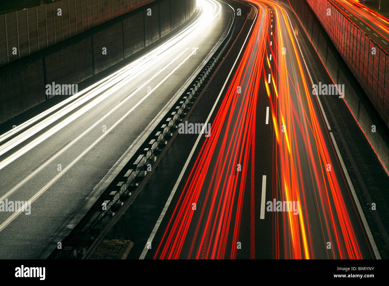 Rush-hour traffic on the A40 highway, Essen, Germany - Stock Image