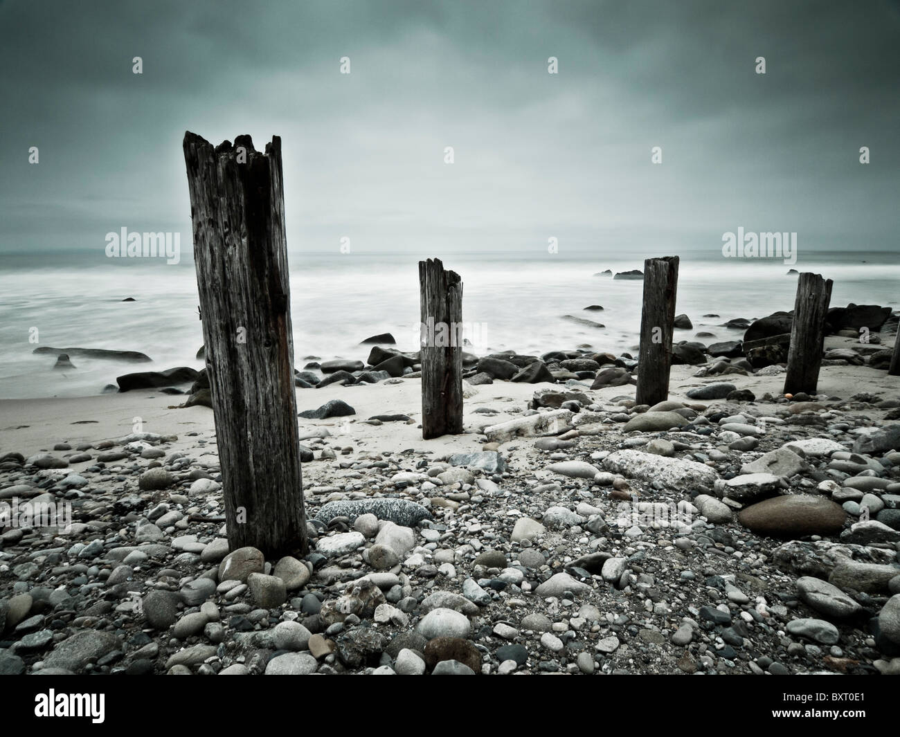 Cold dreary morning at Malibu beach. - Stock Image