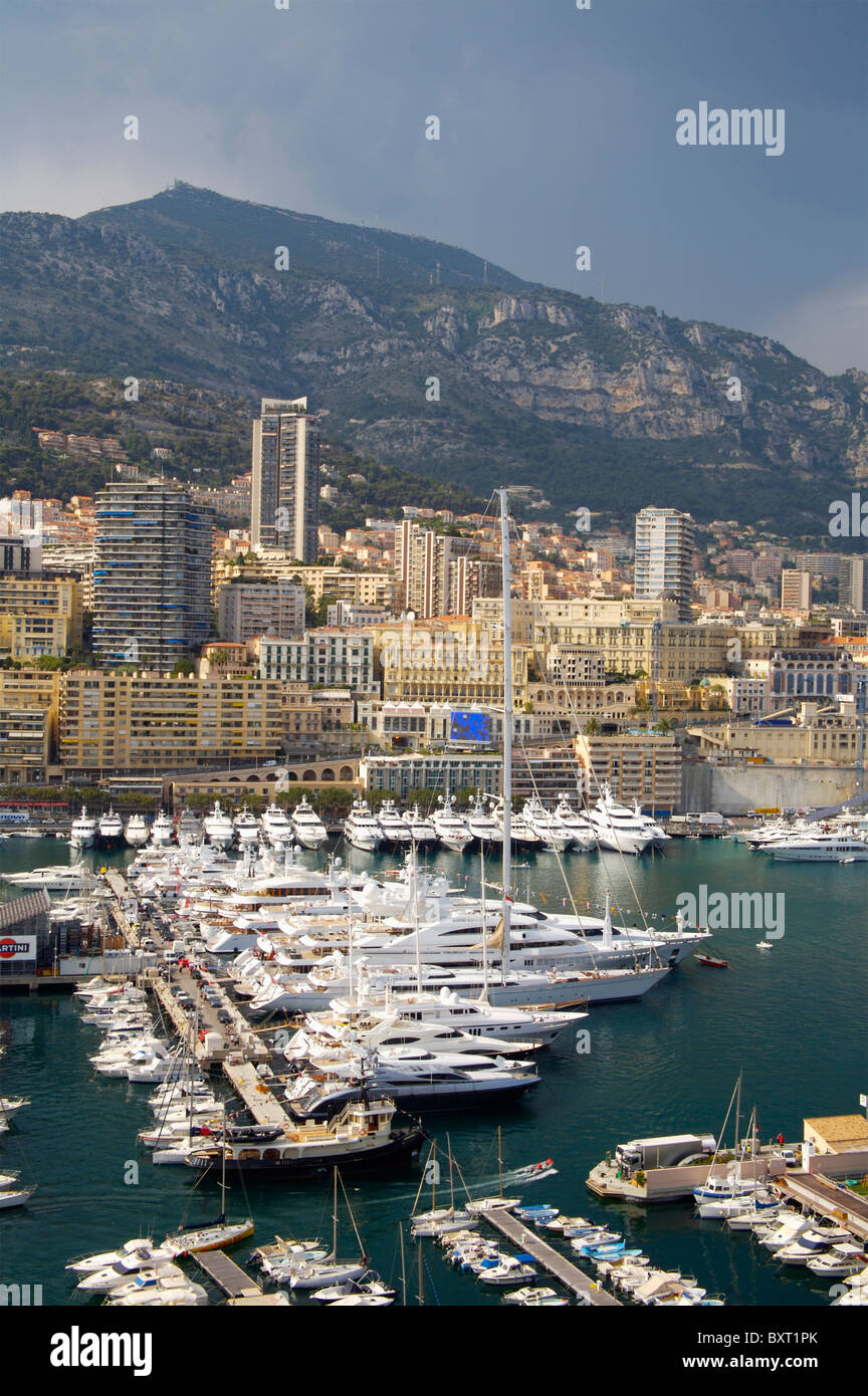 Elevated View Of Port Hercule From Monaco-Ville - Stock Image