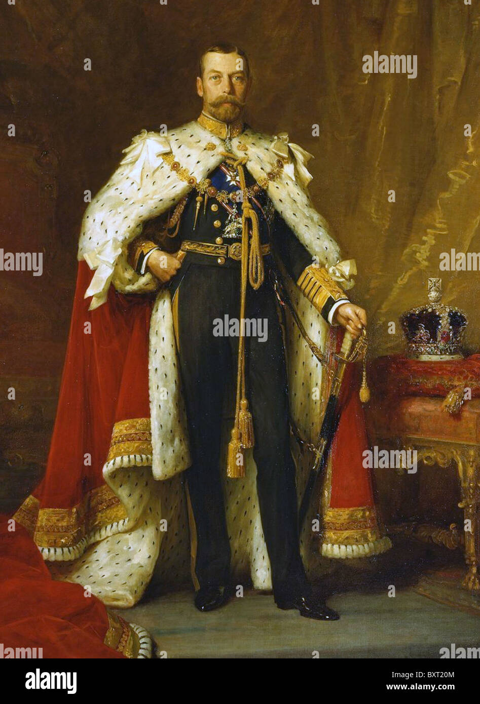 KING GEORGE V (1865-1936) British monarch in his Coronation robes painted by Sir Luke Fildes in 1911 - Stock Image