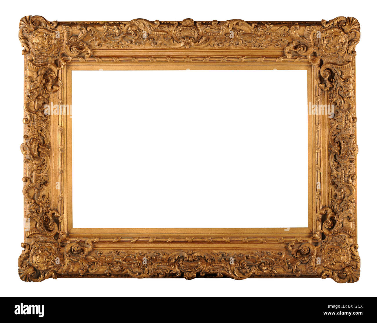 Vintage gold frame isolated over white background - With clipping path - Stock Image
