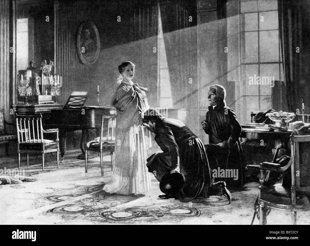 QUEEN VICTORIA  receives news of her accession on 20 June 1837 from Lord Conyngham (left) and the Archbishop of - Stock Image
