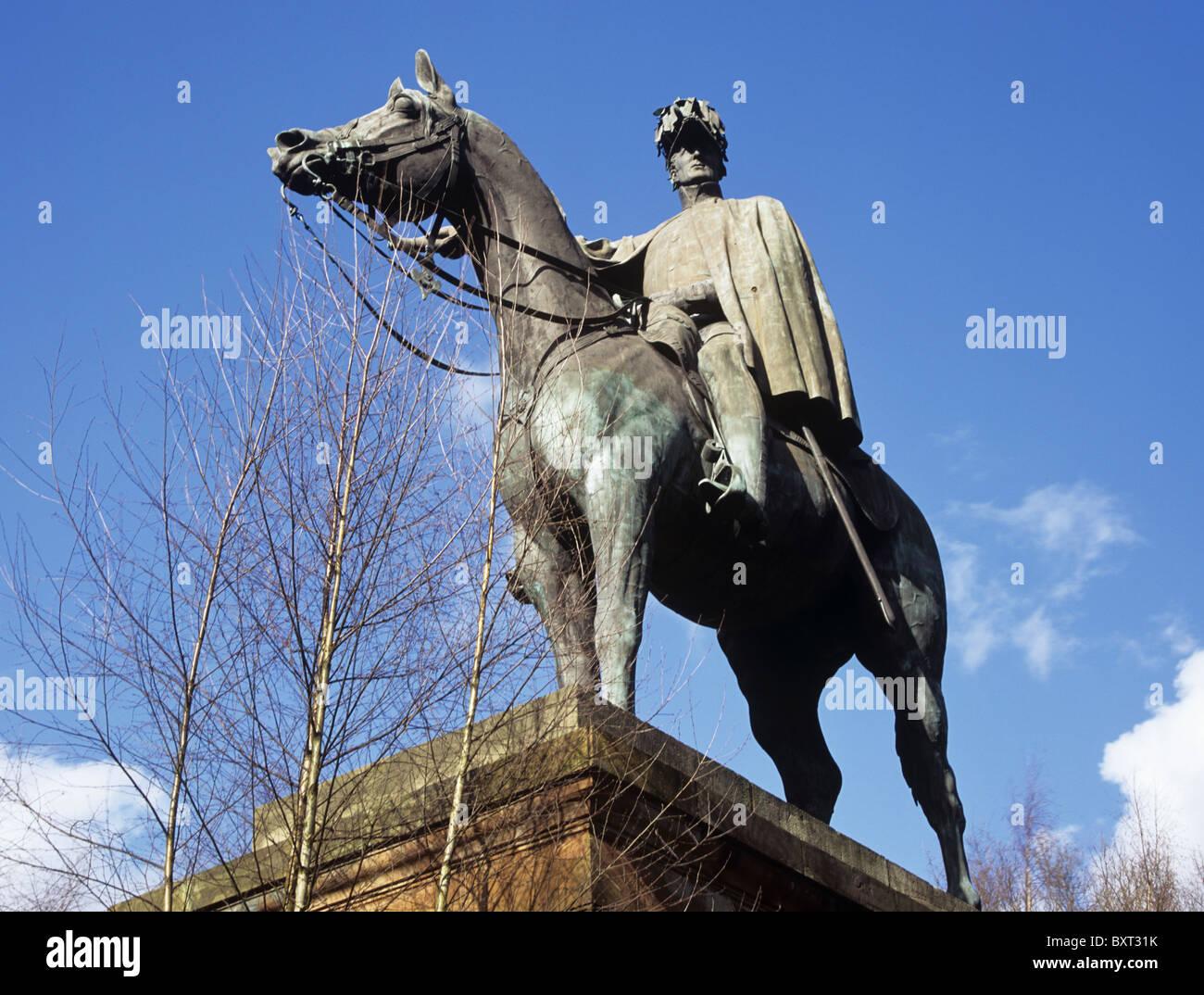 Aldershot Hampshire England UK Statue of Duke of Wellington sitting on his horse Copenhagen - Stock Image