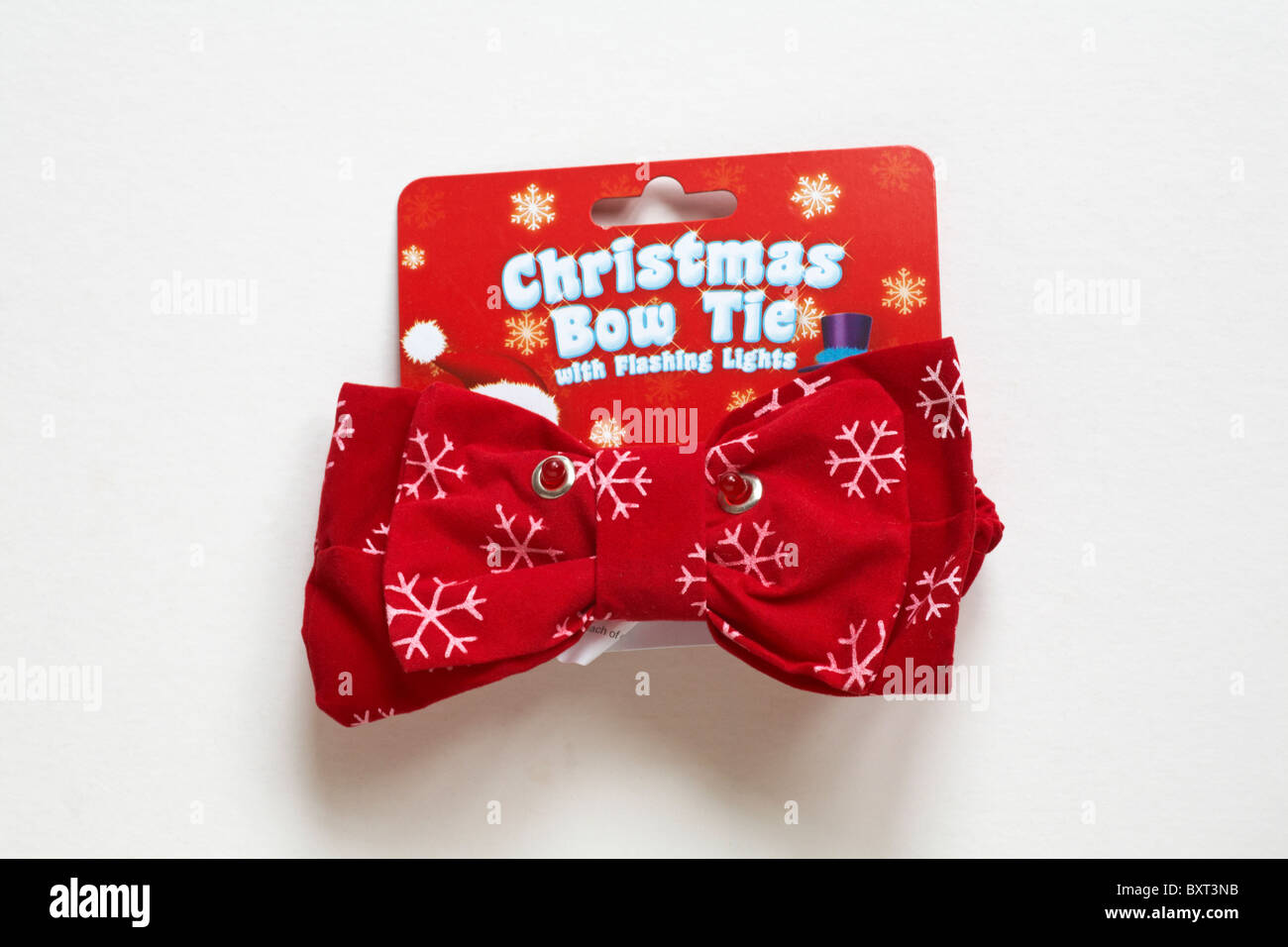 novelty christmas bow tie with flashing lights isolatged on white background stock image