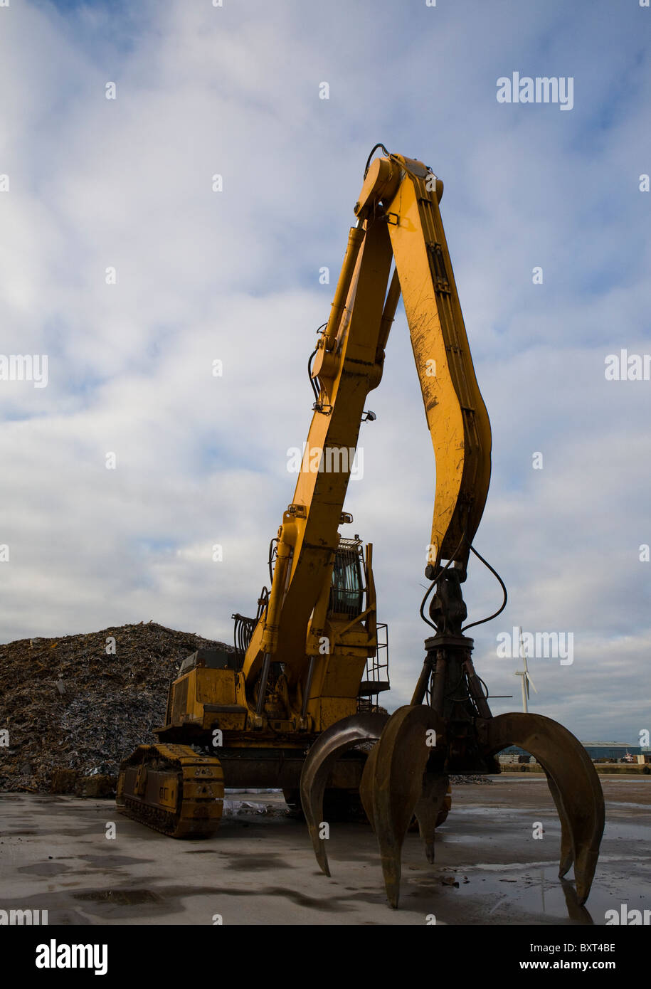Liebherr Grab, Scrap and Salvaged Metal for Recycling   Metals and Materials and Equipment, Liverpool, Merseyside, Stock Photo