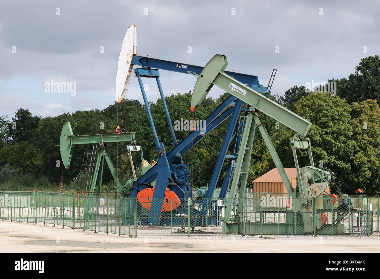 Vermilion Oil well pumps at Champotran France Shale drilling in the so called Paris Basin 60km east of Paris - Stock Image