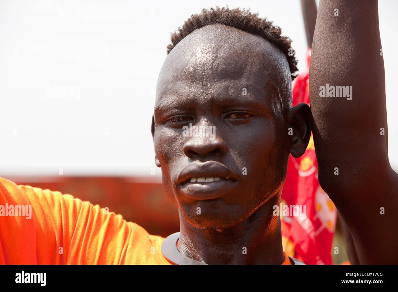 Tribal dancers take part the final independence event in Juba to encourage people to register for the January 9 - Stock Image