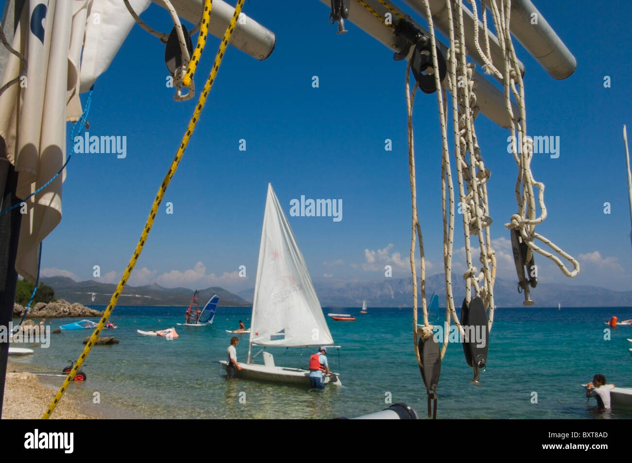 View From Resort On Lefkas, Showing Some Sail Boats. - Stock Image