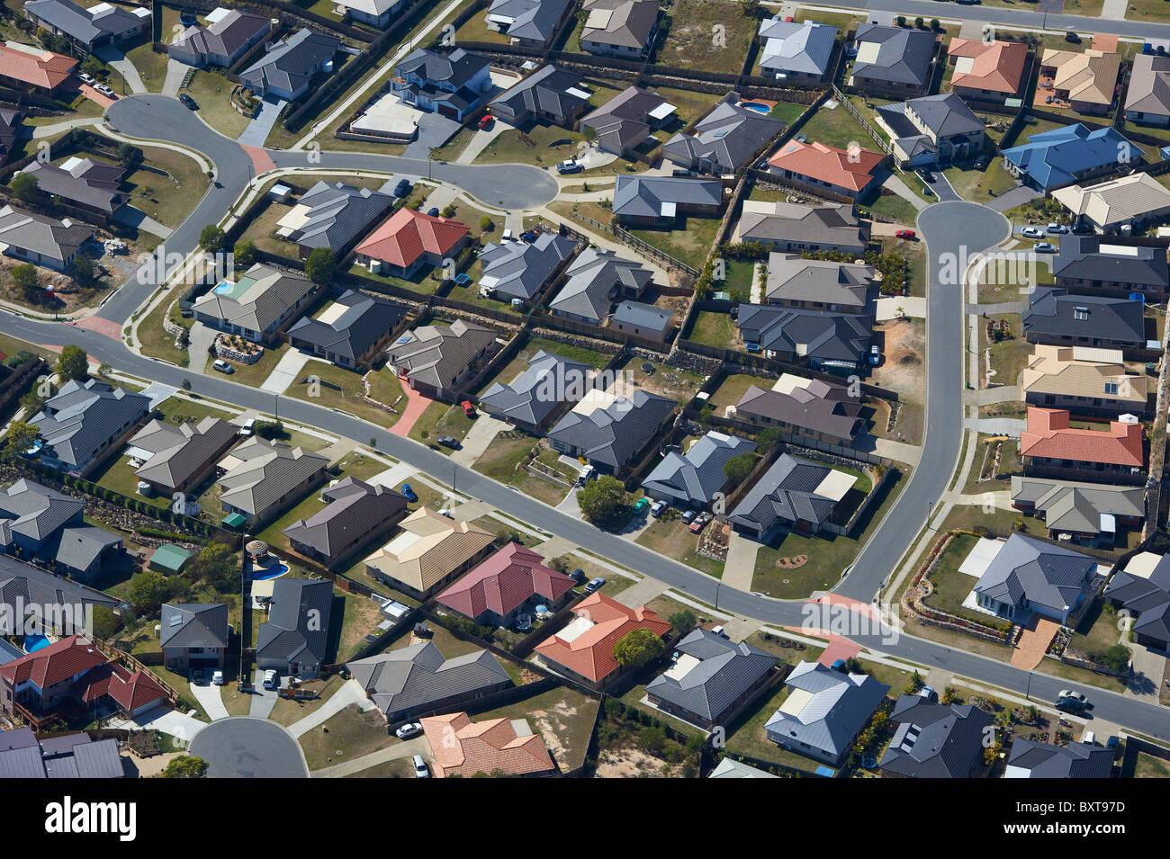 Aerial view of new housing estate Brisbane Australia - Stock Image