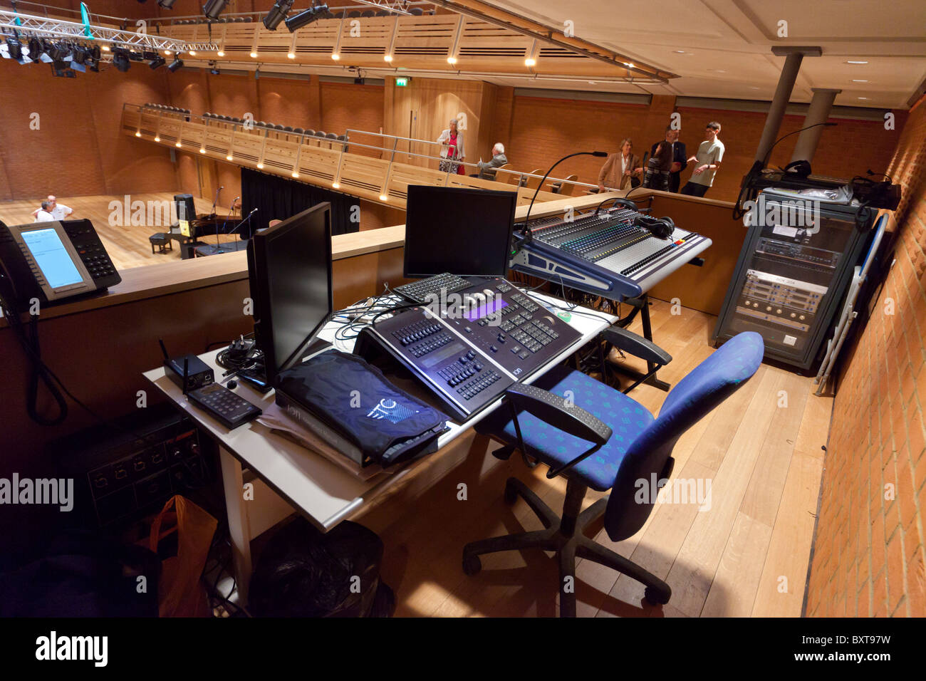 lighting controller and audio mixer desk at  The Apex, Bury St Edmunds, Suffolk, UK - Stock Image