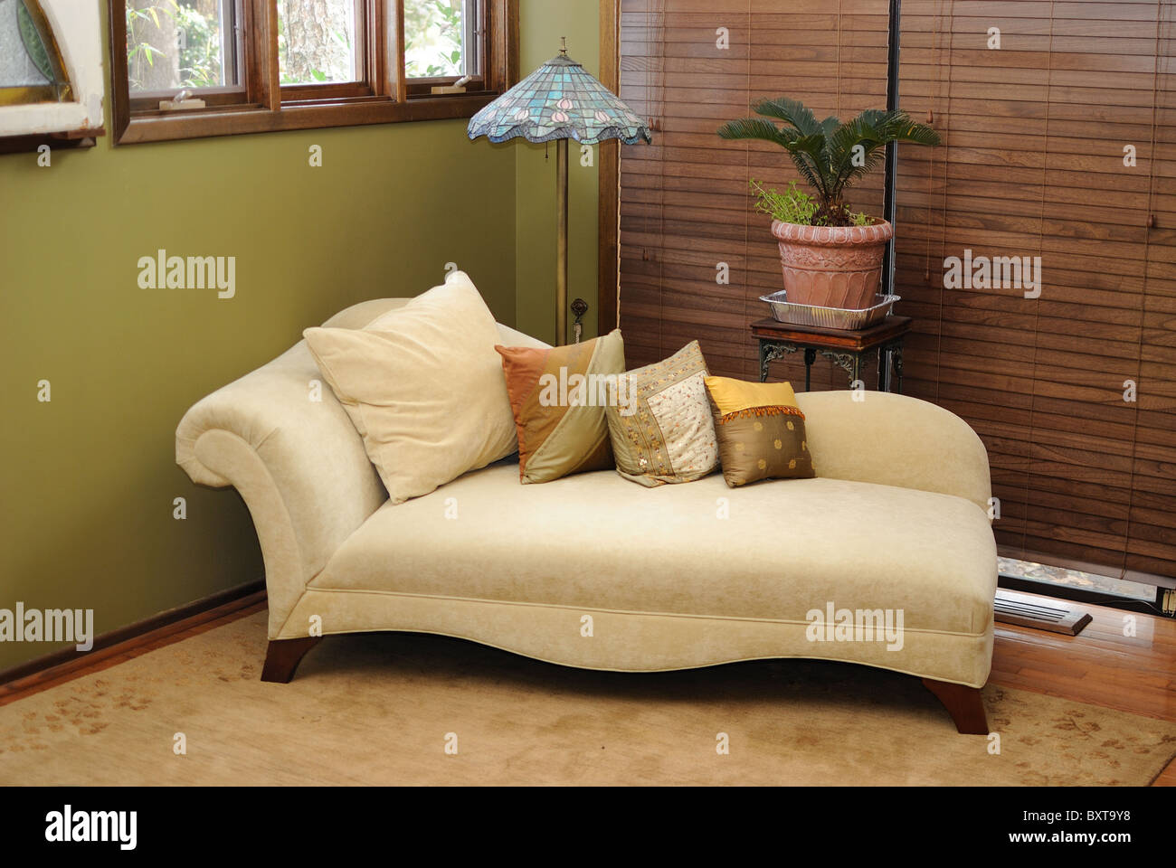 Plush Interior Lounge Chair in a home. - Stock Image