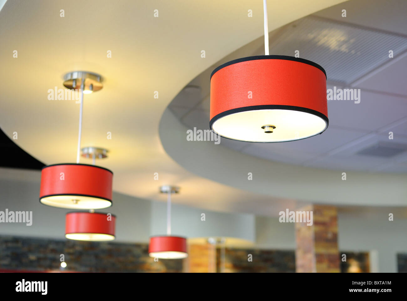 Arrangement of hanging lighting fixtures stock image
