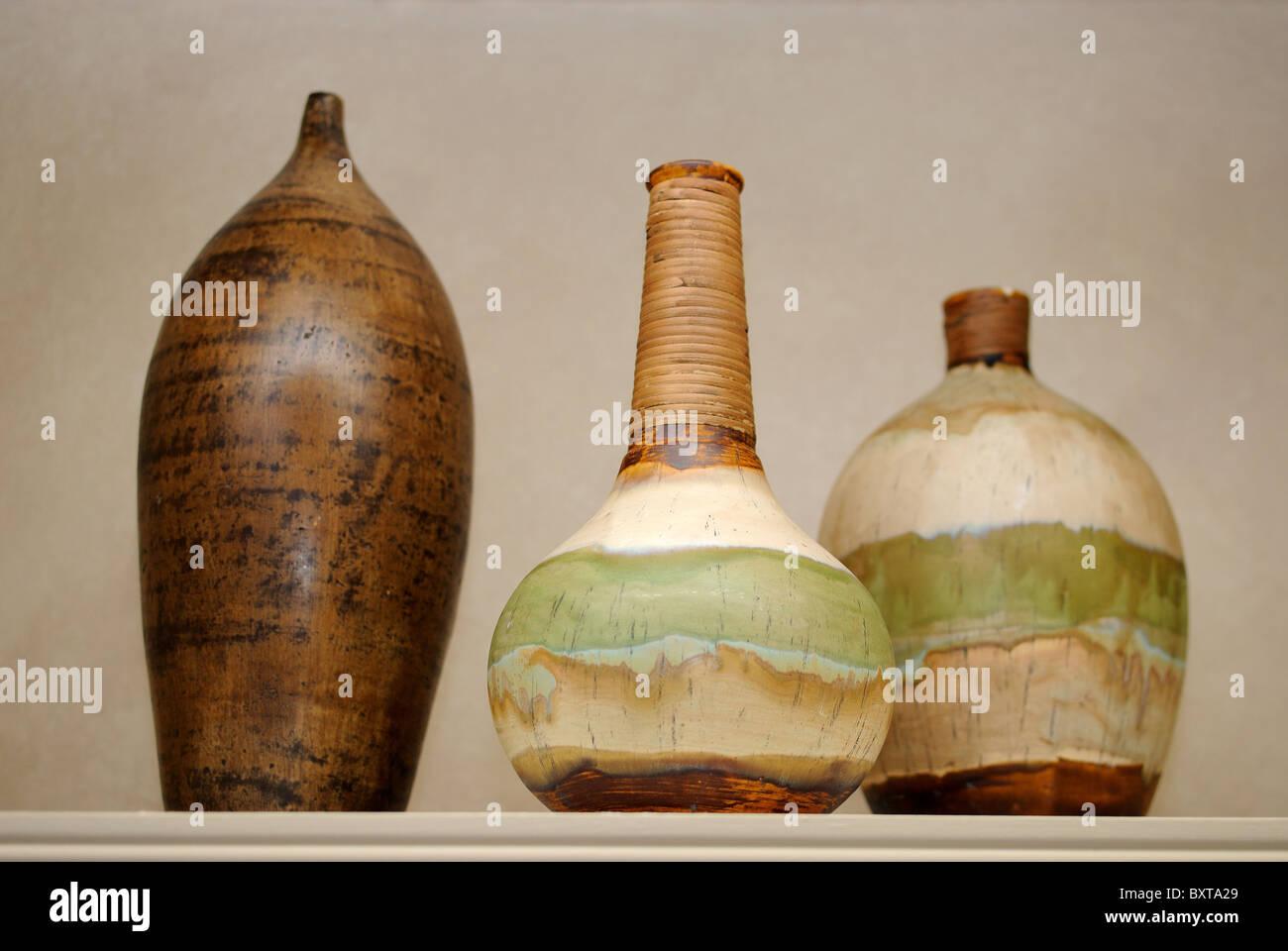 Arrangement of three ceramic vases - Stock Image