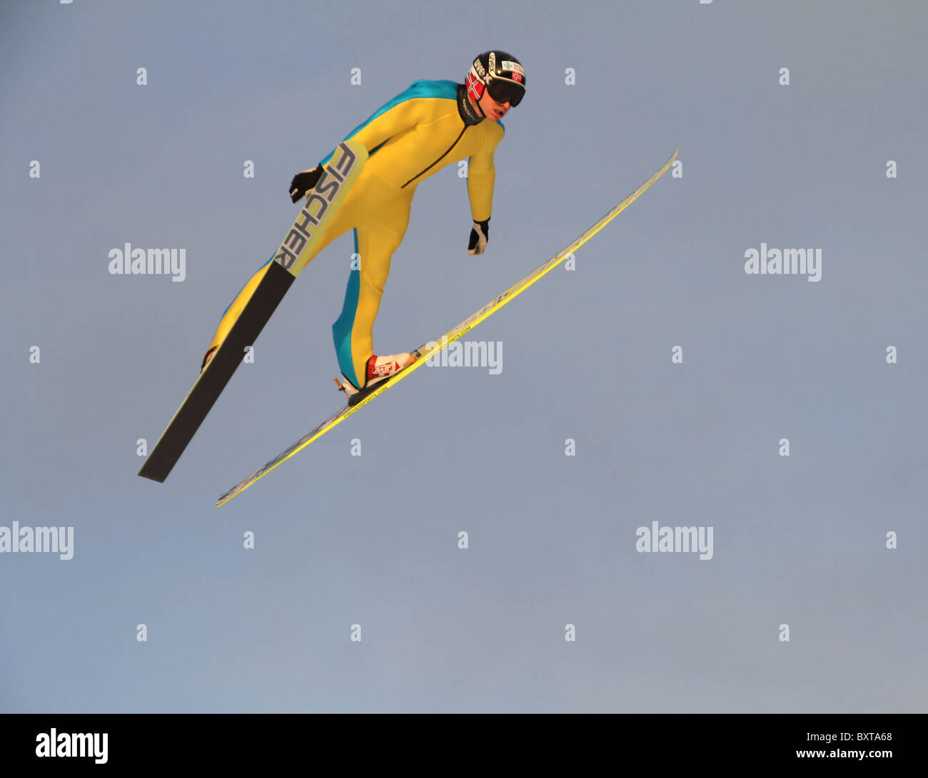 Ski jumping, Nordic Combined and special ski jumpers training in Midtstubakken, jumping hill, Oslo, Norway, 2010 - Stock Image