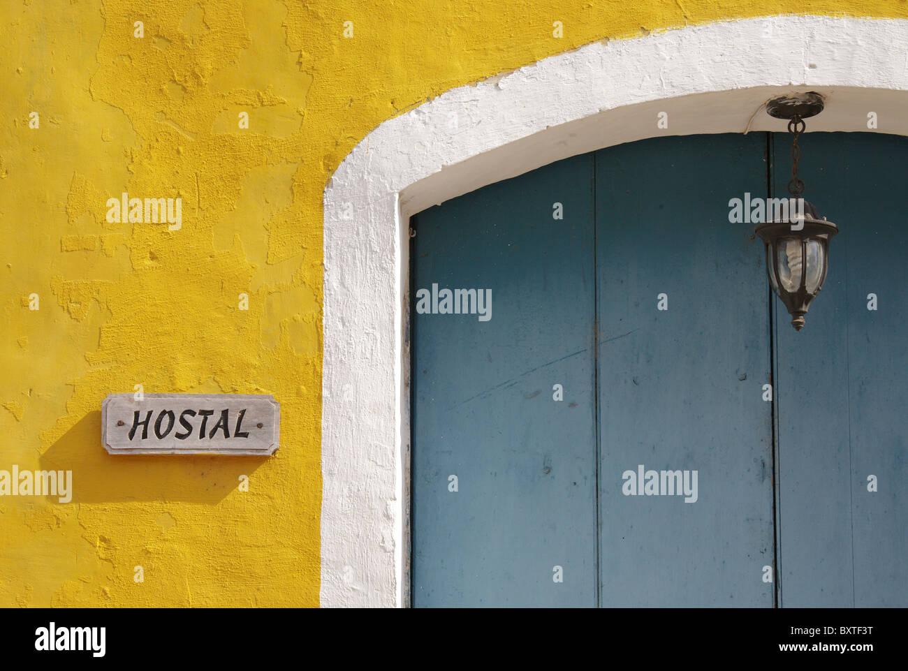 TRINIDAD: HOSTAL SIGN AND DOORWAY - Stock Image