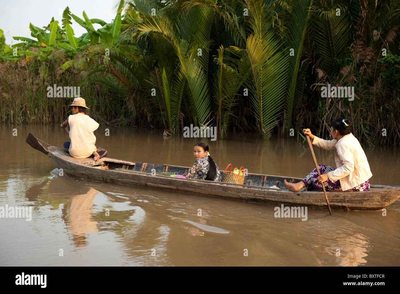 canoe on the Mekong Delta, Ben Tre, Vietnam - Stock Image