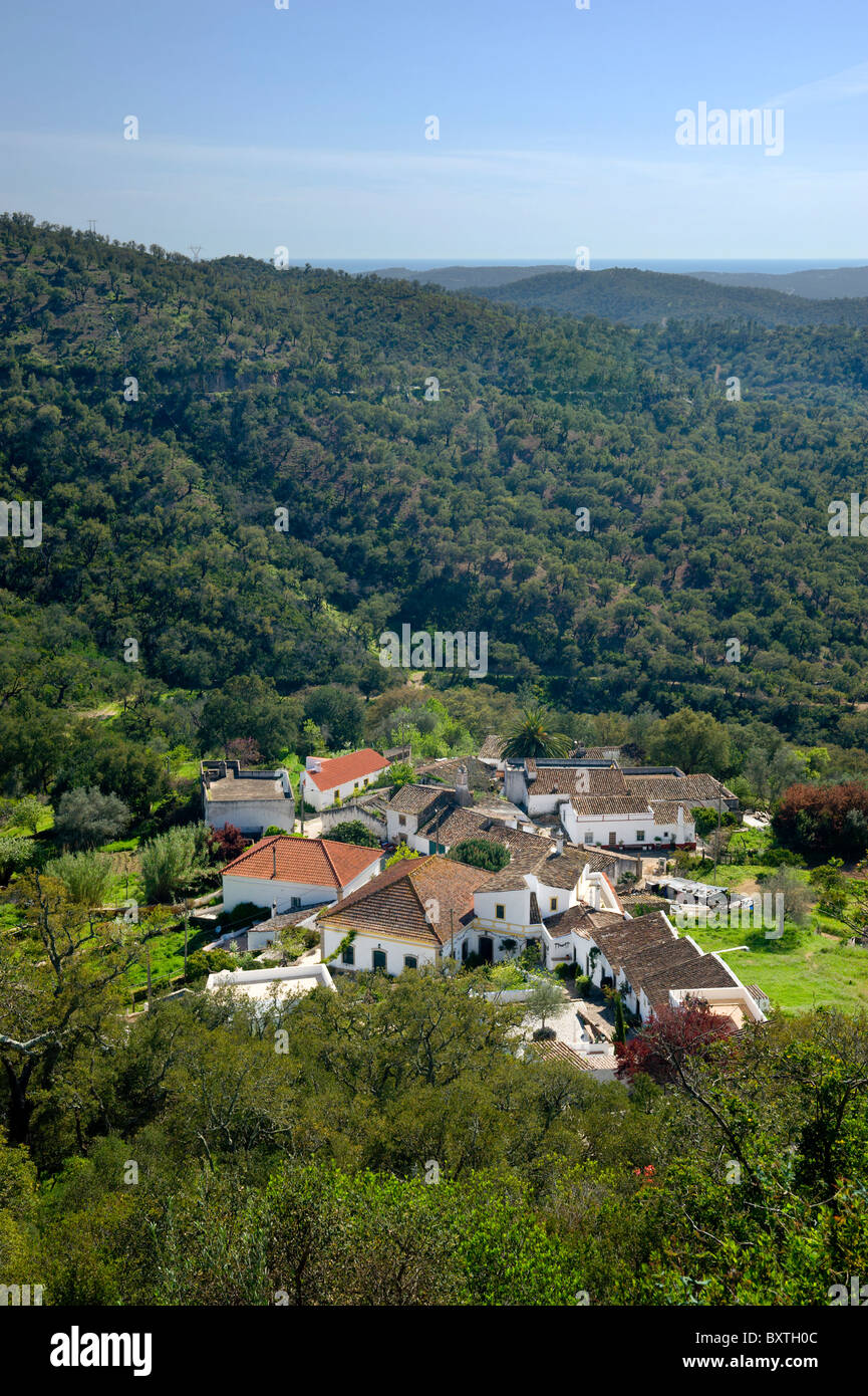 Portugal, The Algarve, An Inland Village in the hills Near Loulé, Loule - Stock Image