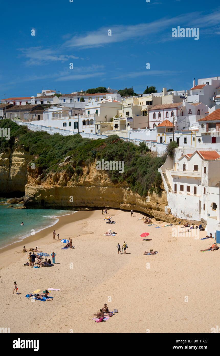 Portugal, The Algarve, Praia Do Carvoeiro Village and Beach In Spring Stock Photo