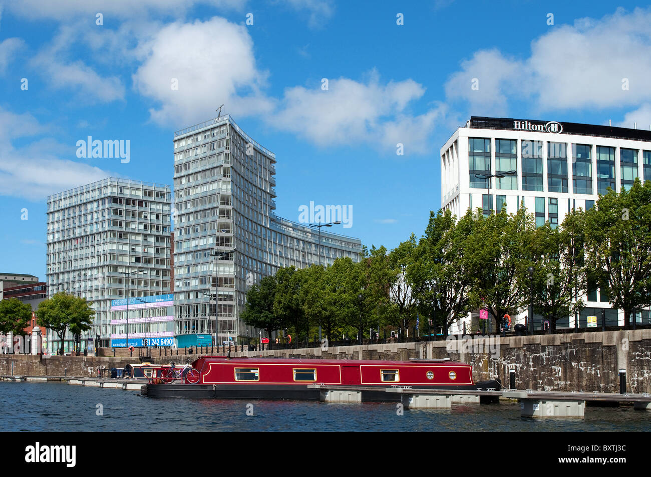 Hotels and apartments on the waterfront in Liverpool, UK - Stock Image