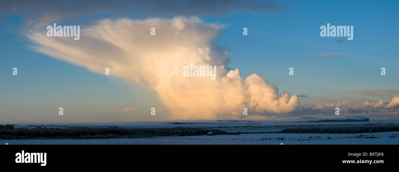 Cumulonimbus shower cloud over Caithness, Scotland, UK Stock Photo