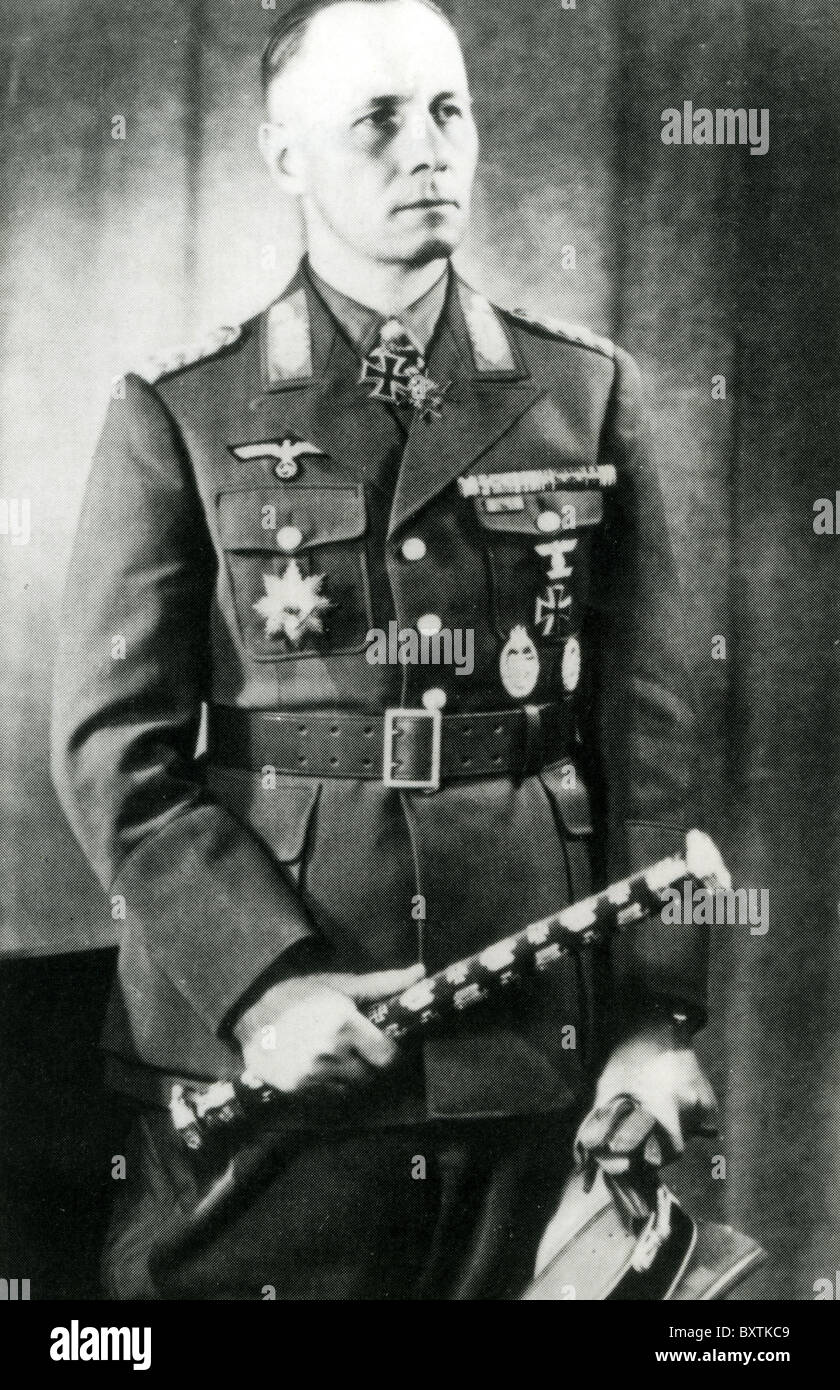 ERWIN ROMMEL (1891-1944) German Field Marshall in Second World War holding his baton - Stock Image