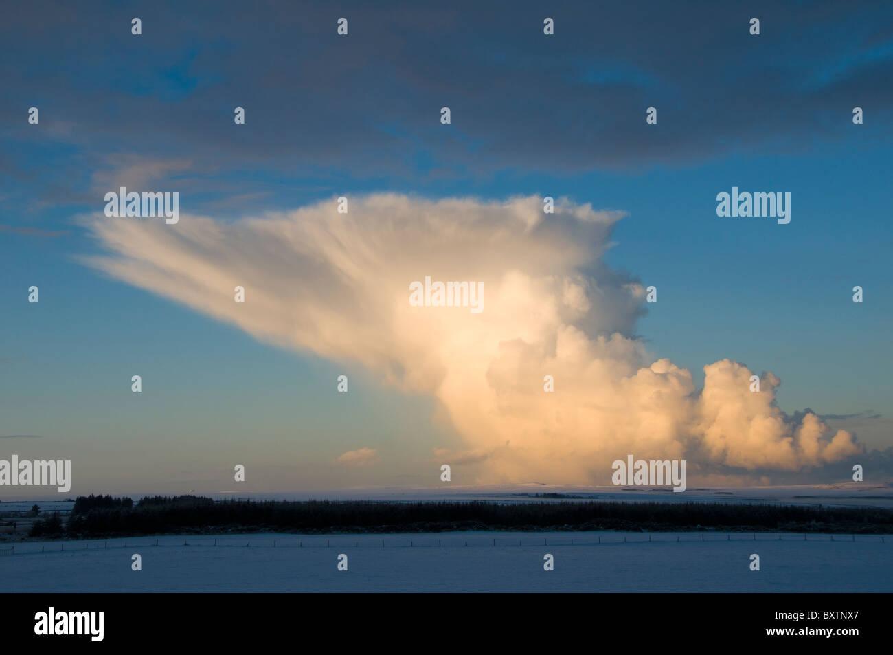 Cumulonimbus shower cloud over Caithness, Scotland, UK - Stock Image