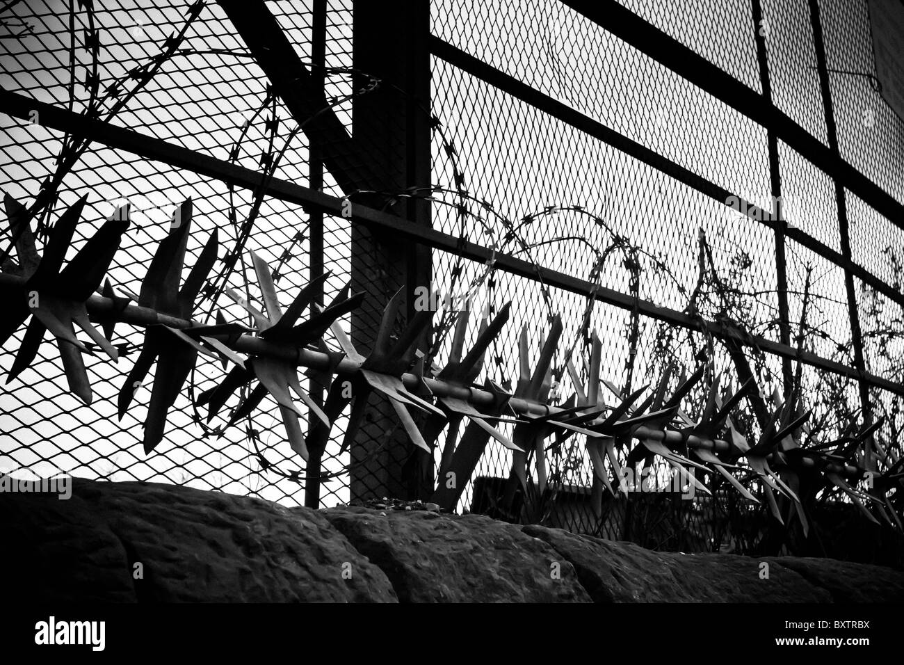 Security Measures of barbed wire, razor wire, revolving spikes and ...