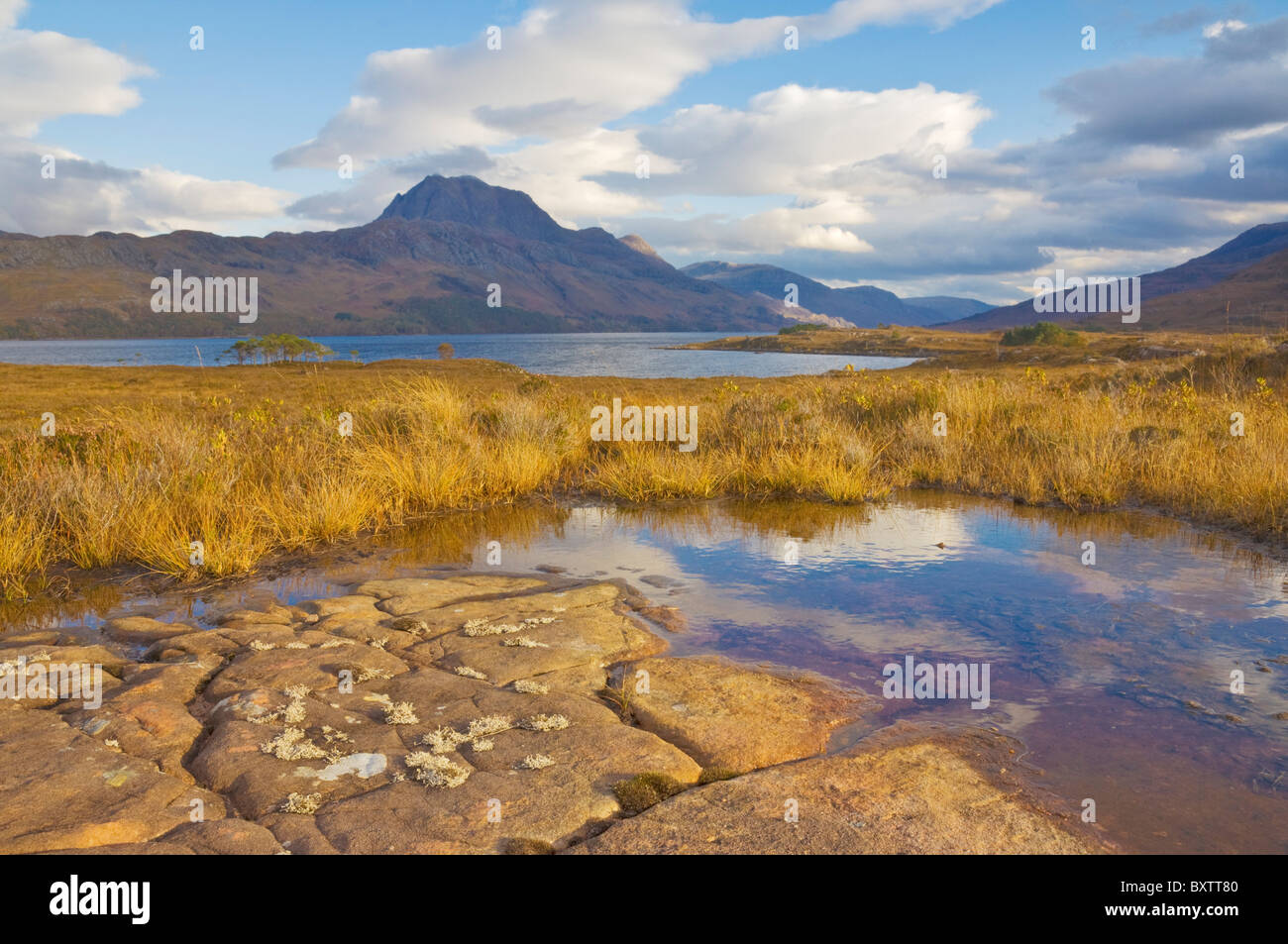 Loch Maree and Slioch Wester Ross Scotland UK GB EU Europe - Stock Image