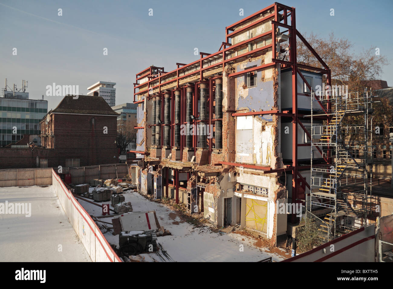 Facade retention.  The art deco facade of the former Ealing ABC cinema being retained prior to redevelopment. Dec - Stock Image