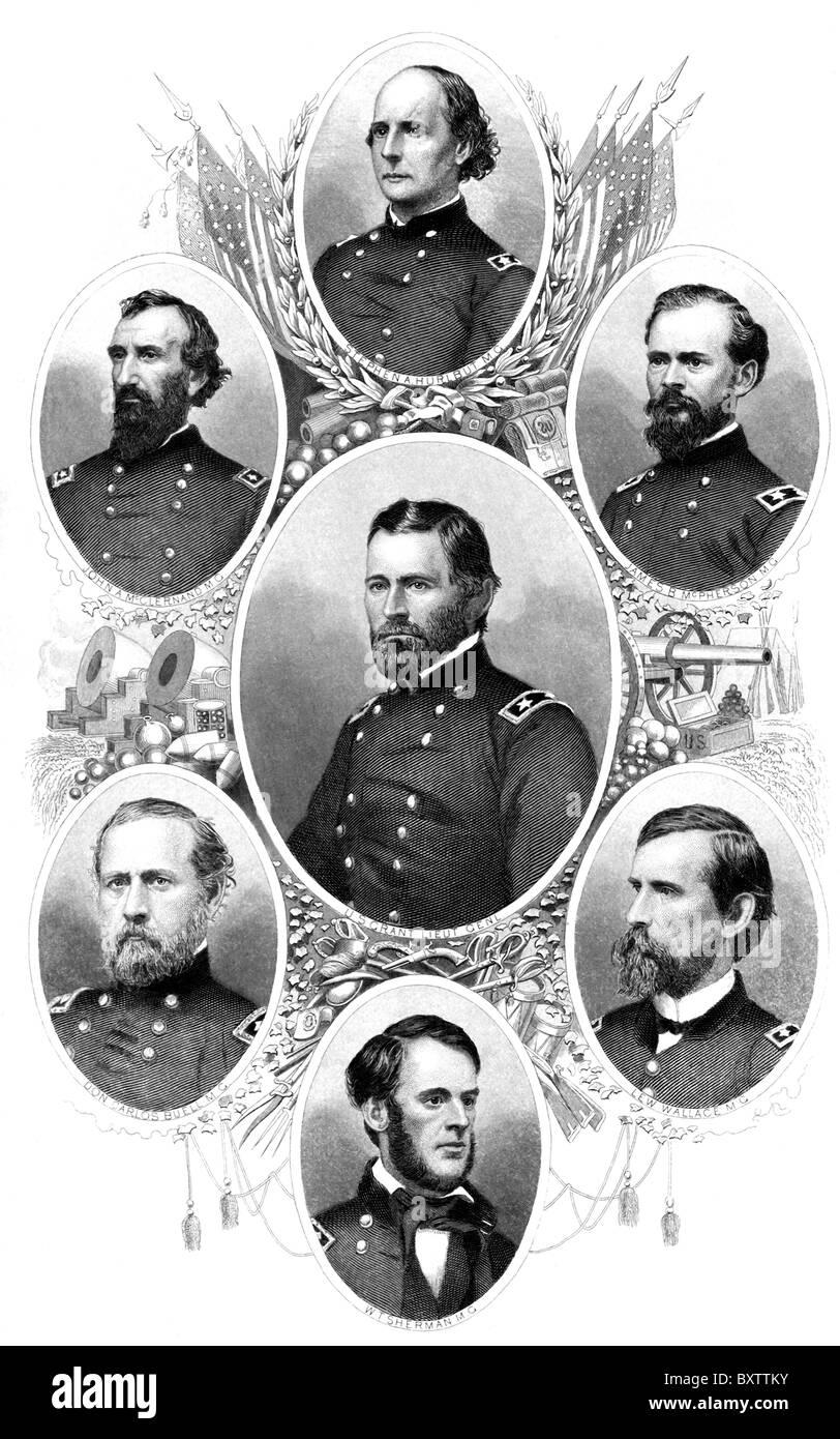 Union generals: Stephen A Hurlbot, John A McClernand, James B McPherson, U. S. Grant, Don Carlos Buell, Lew Wallace, - Stock Image