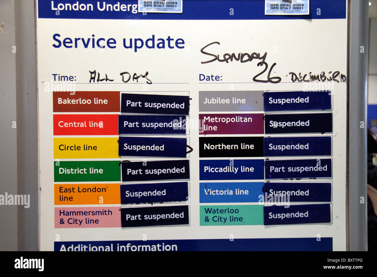 Service update notice on a London Transport strike day inside Ealing Broadway Underground Station, London. Dec 2010 Stock Photo