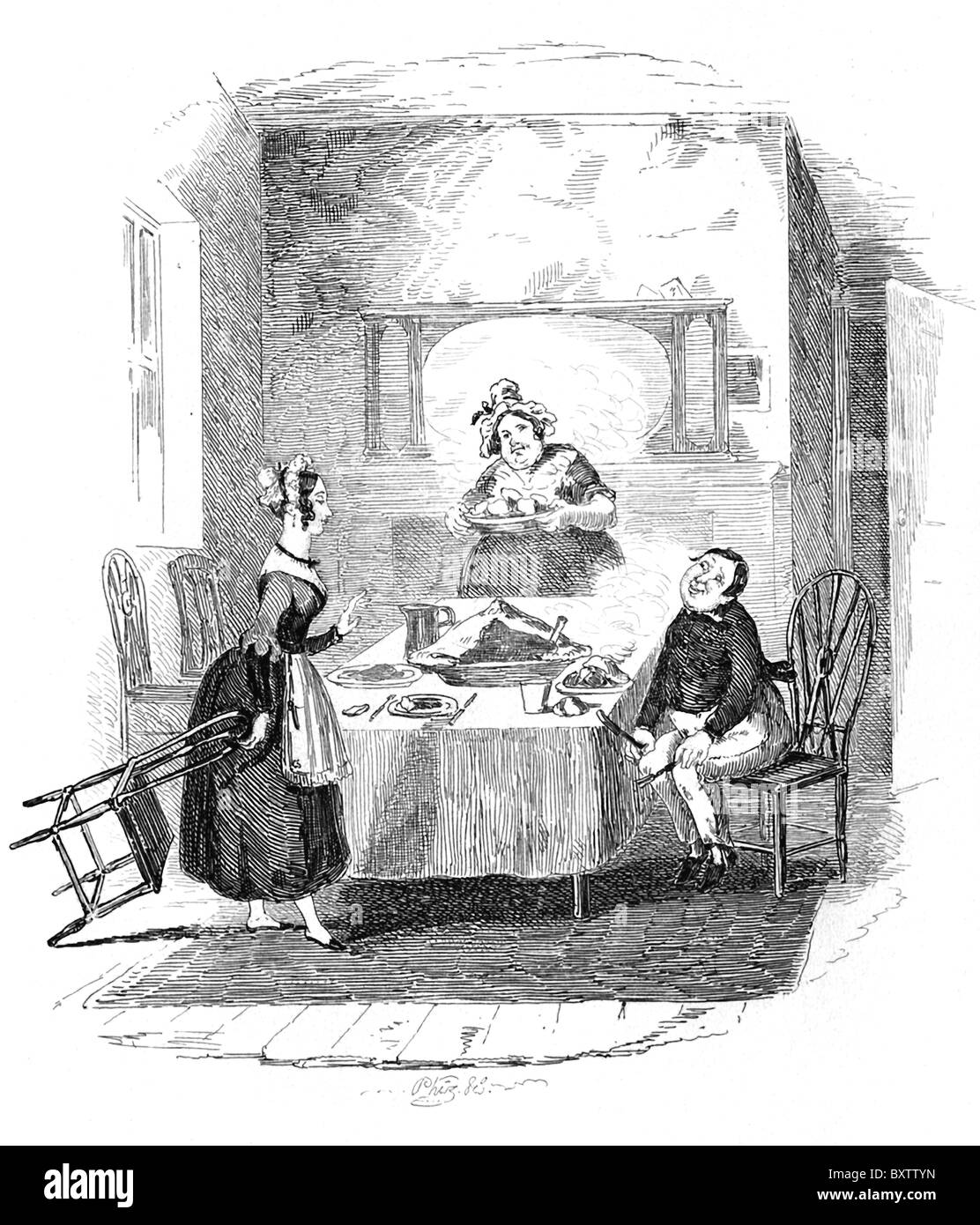 Note the name'Phiz' underneath this illustration of Browne titled 'Mary and the Fat Boy.' - Stock Image