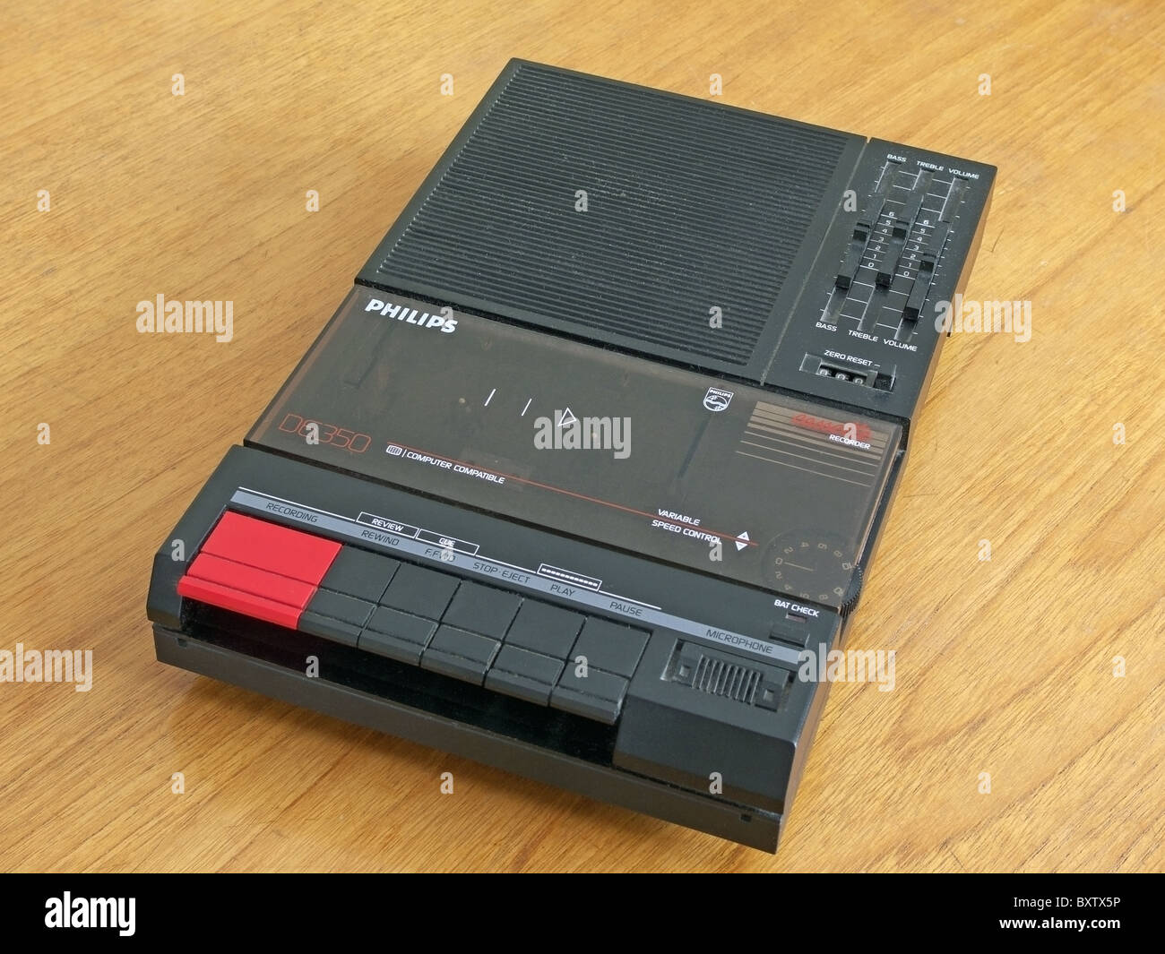A 1980's Philips Brand Audio Tape Recorder and Player on a Table, UK - Stock Image