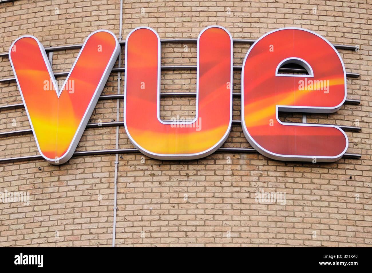 VUE cinema sign logo, Cambridge England, UK - Stock Image