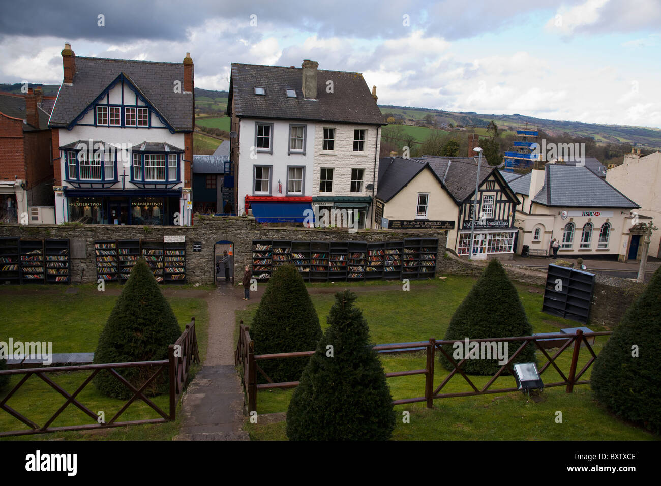 hay on wye castle grounds looking toward brecon beacons - Stock Image