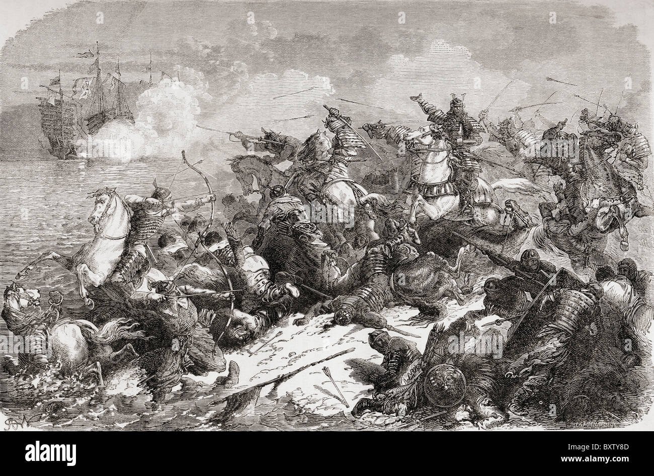 Chinese attempted invasion of Japan in the 13th century. - Stock Image
