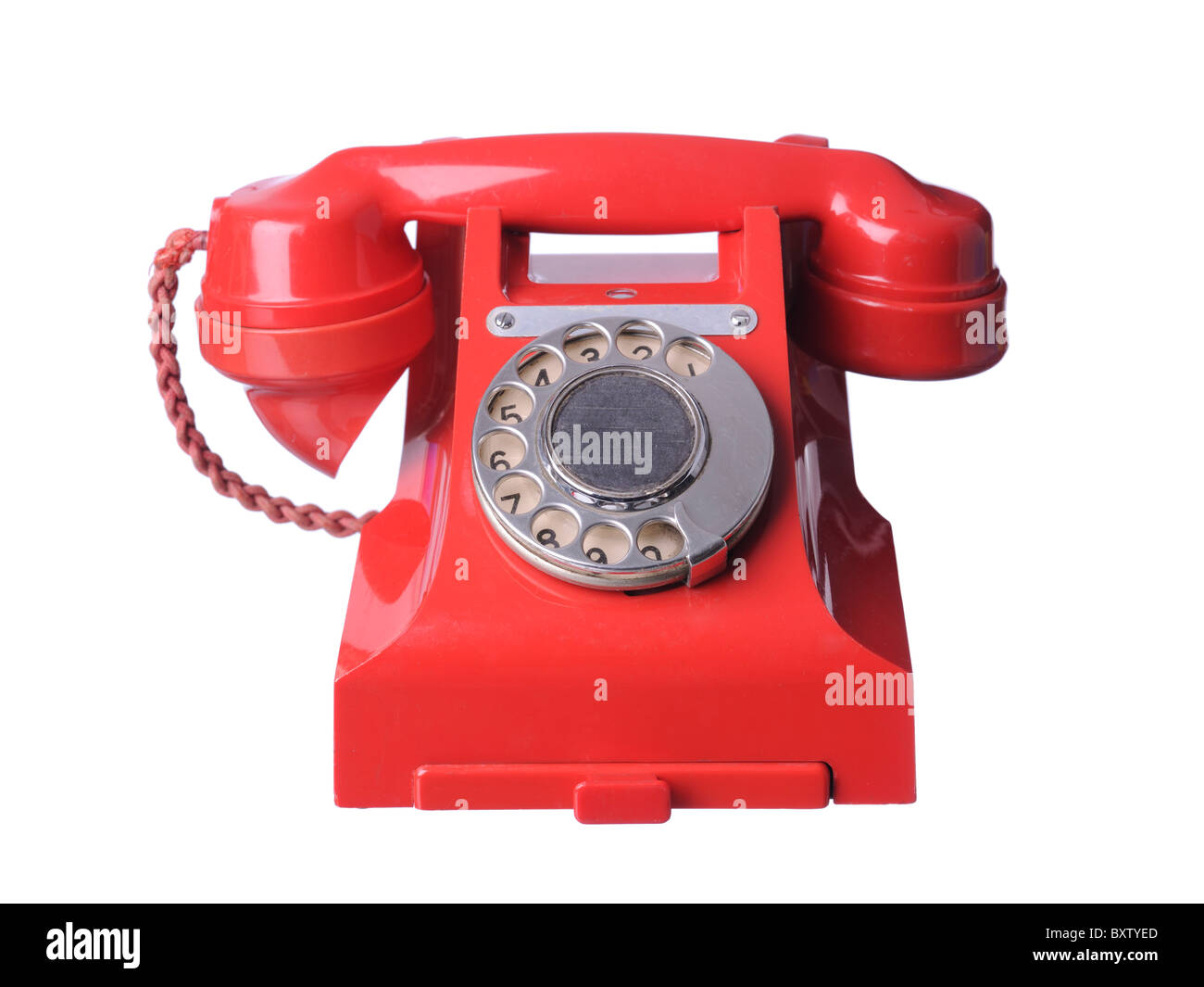 red bakelite old telephone - Stock Image