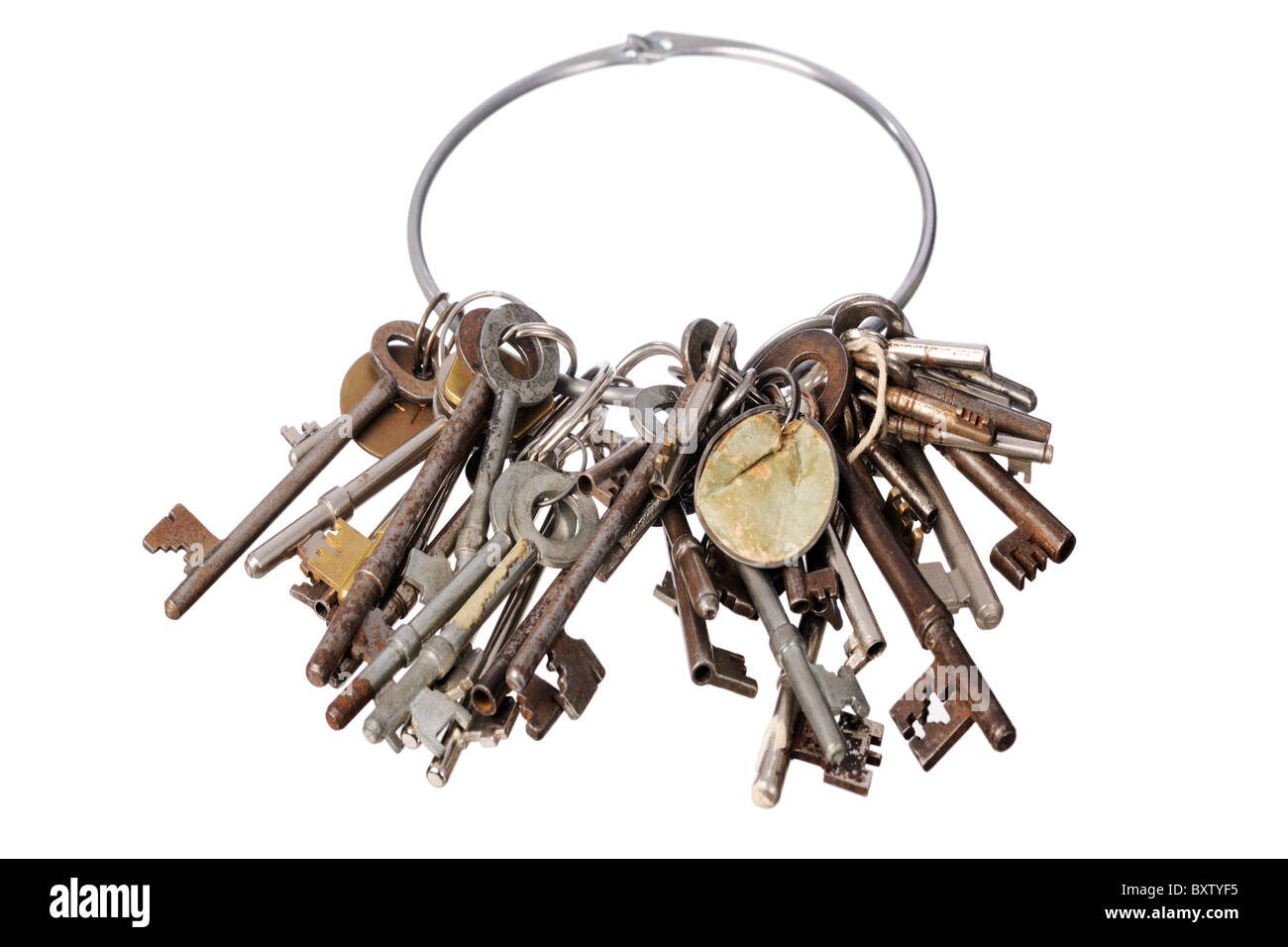 bunch of rusty old keys - Stock Image