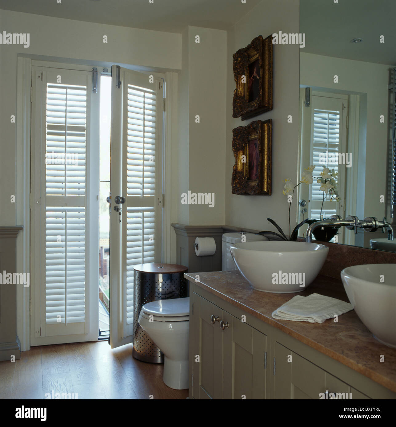 Plantation Louvre Shutters On French Doors In Modern White