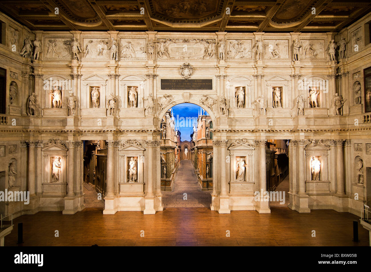 View of the three-dimensional stage of Teatro Olimpico or Olympic Theatre designed by architect Andrea Palladio, - Stock Image