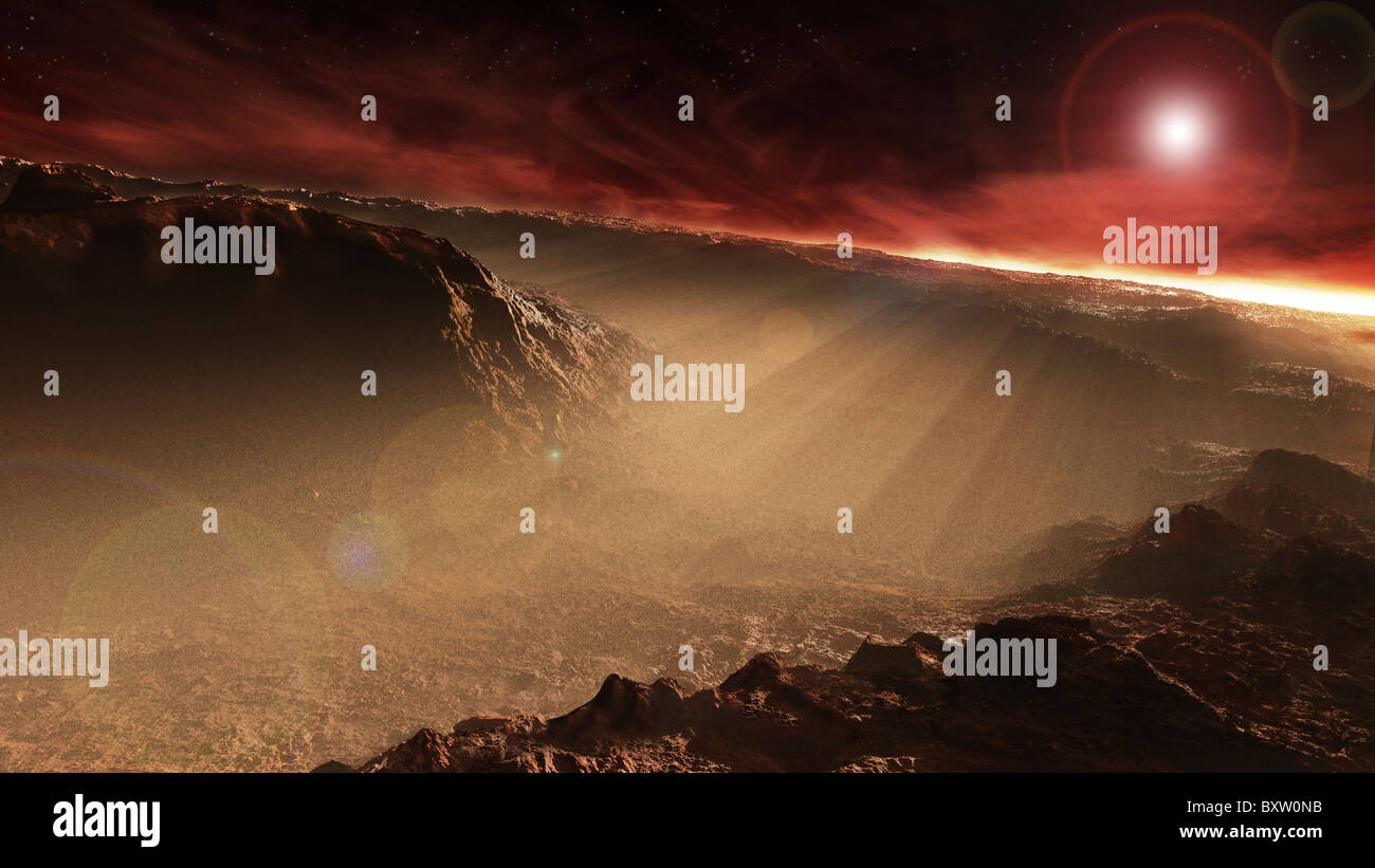 The sun rises over Gale Crater, Mars. This is one of the prospective landing sites for the Mars Science Laboratory - Stock Image