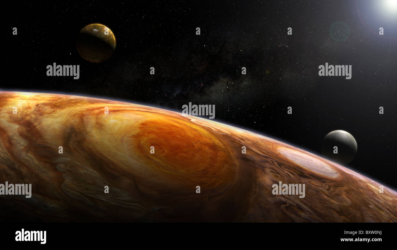 Jupiter's moons Io and Europa hover over the Great Red Spot on Jupiter. - Stock Image