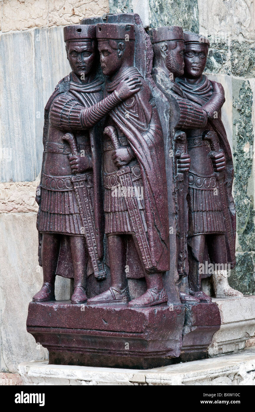 Portrait of the Four Tetrarchs, a sculpture group of four Roman emperors, Doge's Palace or Palazzo Ducale, Venice, Stock Photo