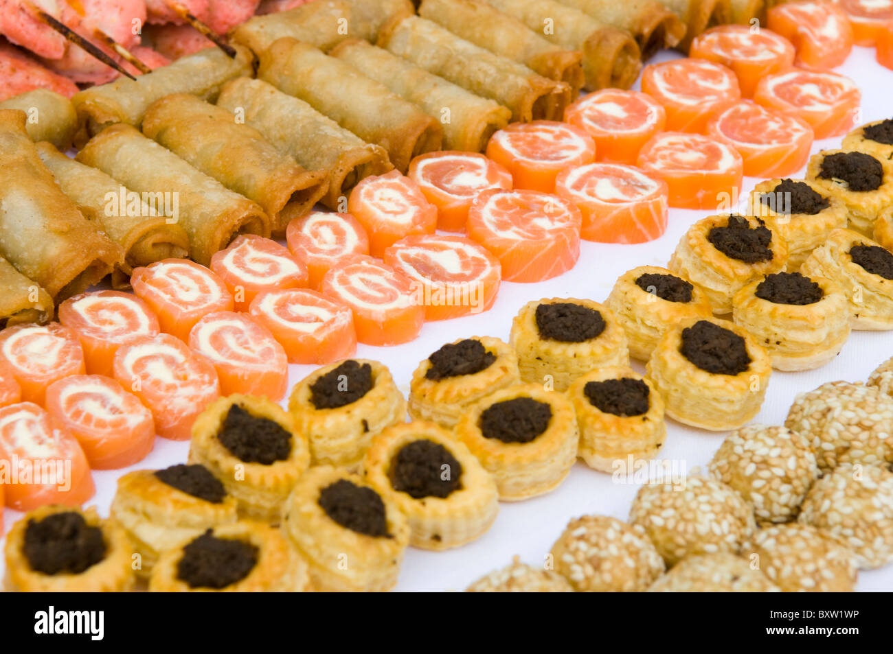 A variety of party canapés in rows on a white tray - Stock Image