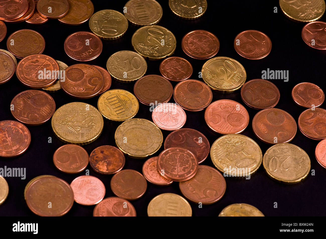 Euros on black Background - Stock Image