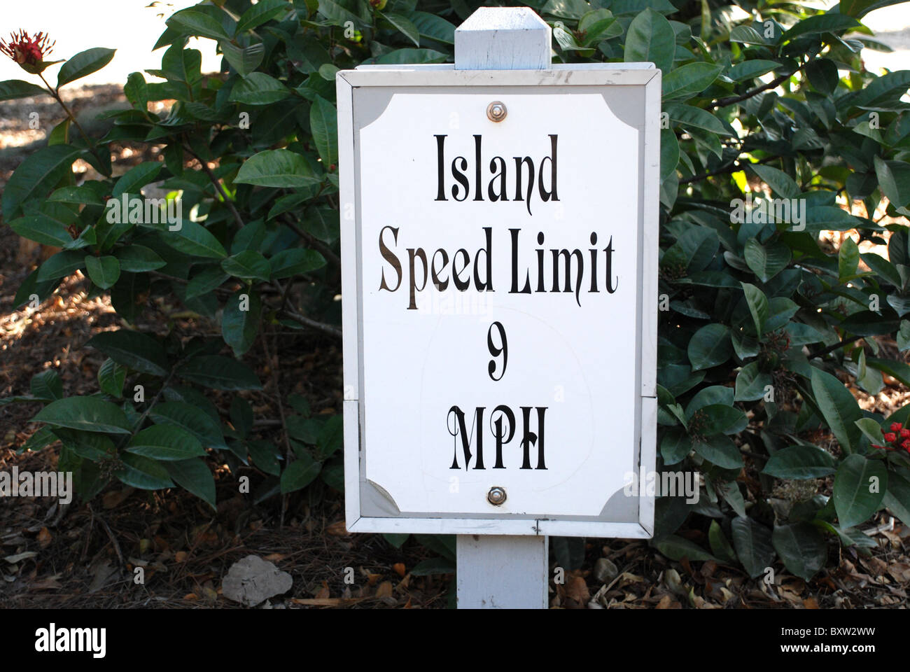 Speed limit sign on Useppa Island, a private island in SW Florida accessible only by boat. - Stock Image