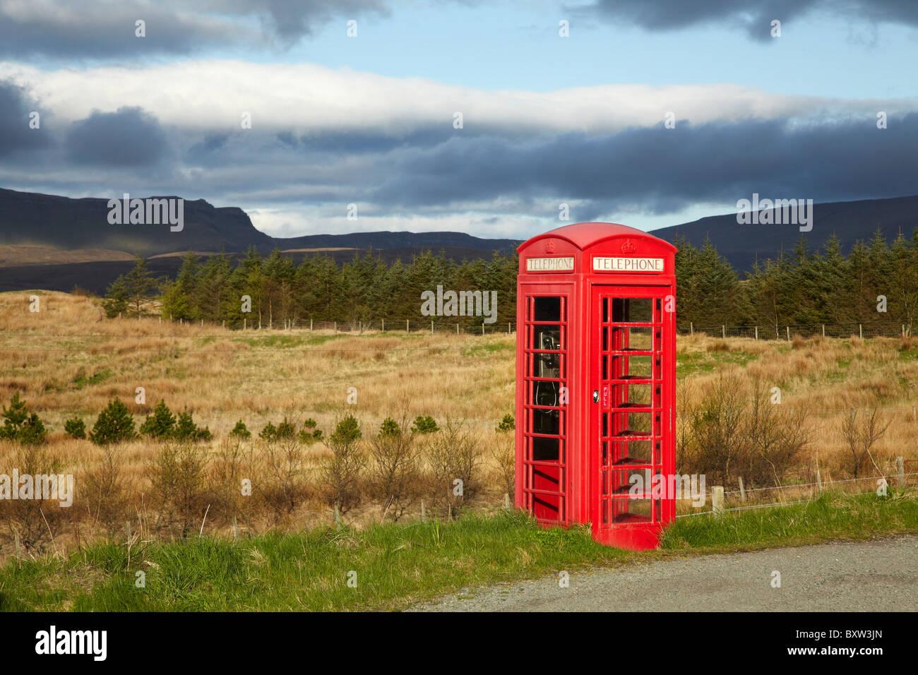 Public Phone Box, Ellishadder, near Staffin, Trotternish Peninsula, Isle of Skye, Scotland, United Kingdom - Stock Image
